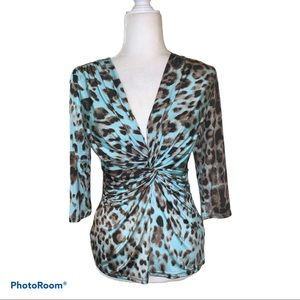 Cartise 3/4 Sleeve Ruched Animal Print Top Sz M